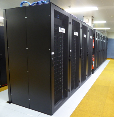 a row of racks full of servers in the serverroom