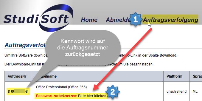 """Das Bild zeigt, dass man unter """"Auftragsverfolgung"""" in StudiSoft sein Office-365-Passwort zurücksetzen kann."""