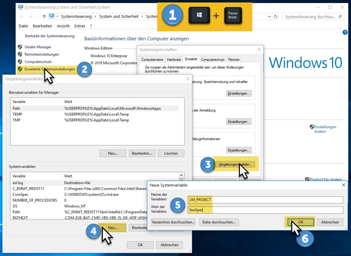Umgebungsvariable unter Windows setzen am Beispiel der Variable ''LM_PROJECT'' mit dem Wert ''fauXpas'' (Schritt-für-Schritt-Anleitung)