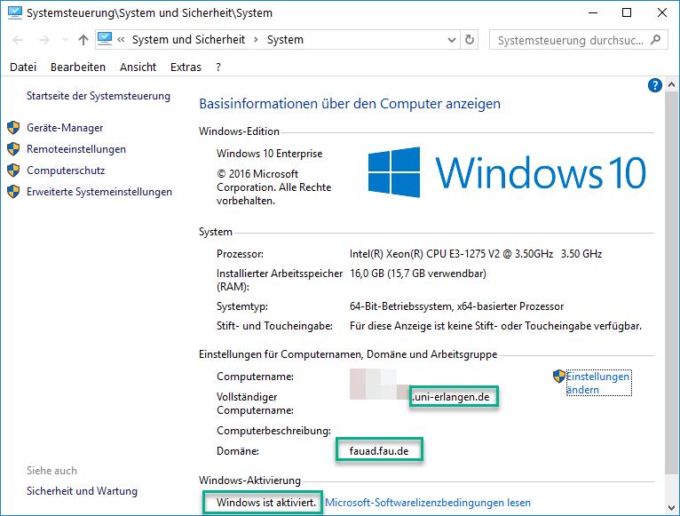 Auf diesem Bild ist das Fenster der Windows Systemsteuerung mit den jeweiligen Einstellungen geöffnet.