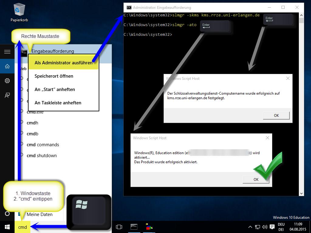 Aktivierung von Windows Enterprise per KMS