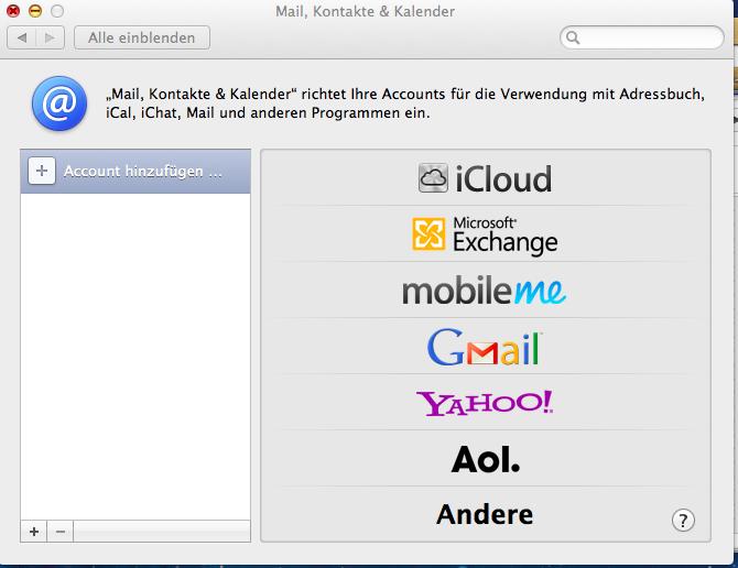 """Das Bild zeigt das Fenster """"Mail, Kontakte & Kalender""""."""
