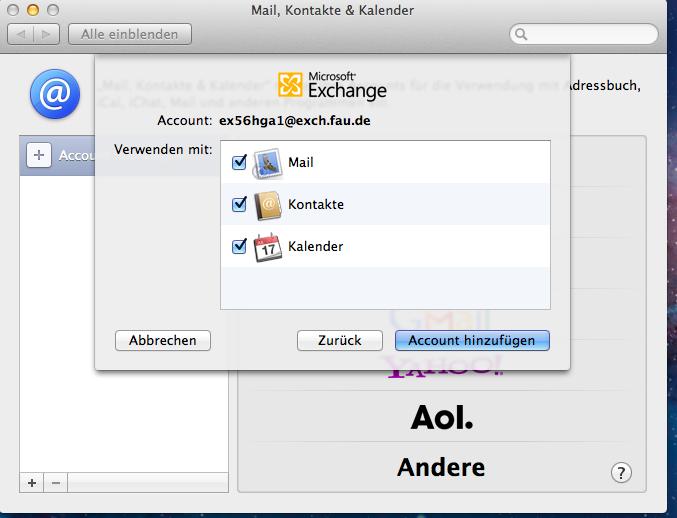 In diesem Fenster von Microsoft Exchange wählen Sie aus, ob Sie Ihren Account mit Mail, Kontakten und Kalender verwenden möchten.