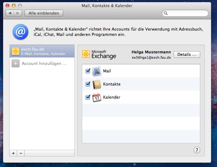 """Das Fenster """"Mail, Kontakte & Kalander"""" zeigt hier nochmals bestätigend die den Account betreffenden ausgewählten Optionen."""