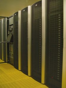 row of racks with servers