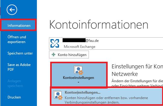 """Über """"Informationen"""" auf """"Kontoeinstellungen"""" und dann nochmal auf selbige klicken"""