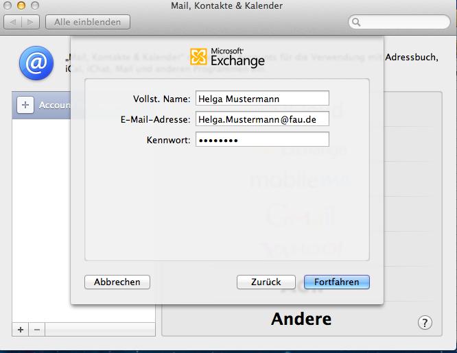 """Das Bild zeigt das Fenster """"Microsoft Exchange"""" zur Anmeldung mit Name, Mail und Passwort."""
