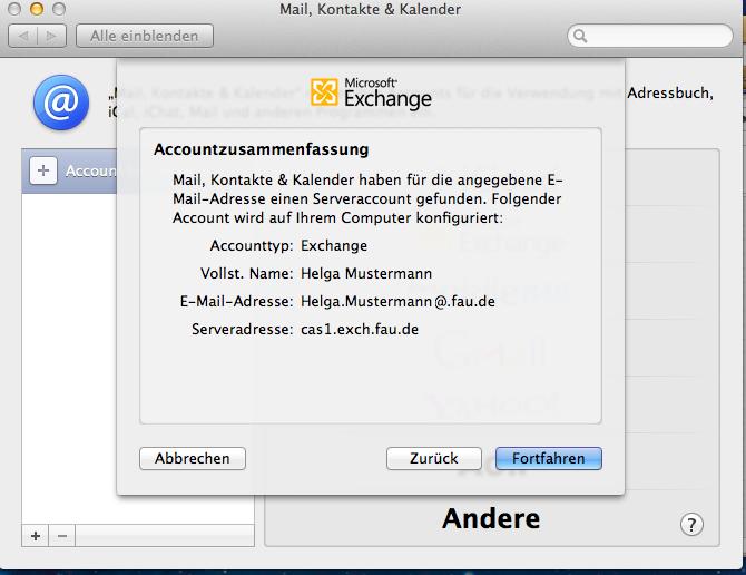 """Das Bild zeigt das Fenster """"Microsoft Exchange"""" mit der Account-Zusammenfassung."""