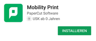 Mobility Print Installation auf Android