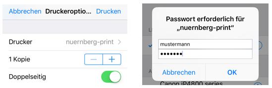 Druckdialog und Authentifizierung an IDM unter iOS