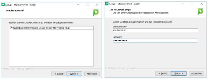Druckdialog Mobility Print auf Windows