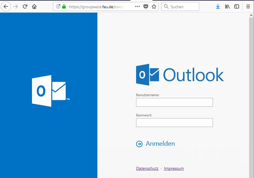 In diesem Bild wird Ihnen der Anmeldebildschirm von Outlook gezeigt, wo Sie sich mit Benutzernamen und Kennwort anmelden.
