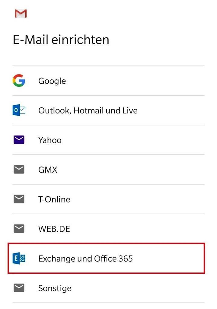 """Das Bild zeigt, dass Sie unter """"E-Mail einrichten"""" den jeweiligen Anbieter auswählen können."""