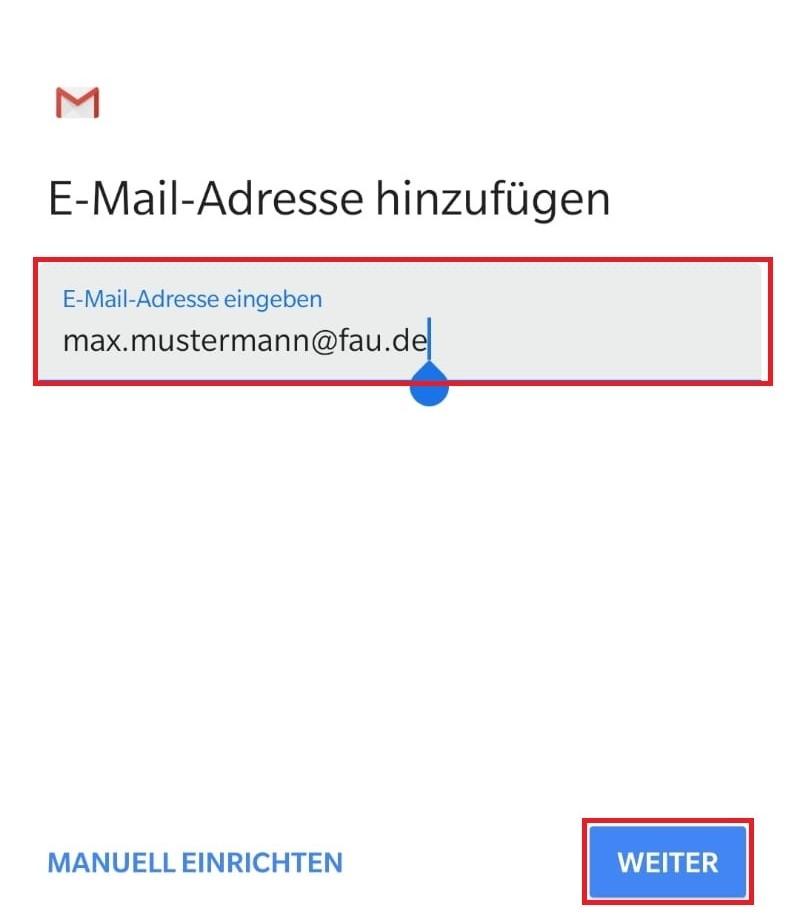 """Das Bild zeigt, dass Sie bei """"E-Mail-Adresse hinzufügen"""" Ihre Mailadresse eingeben."""