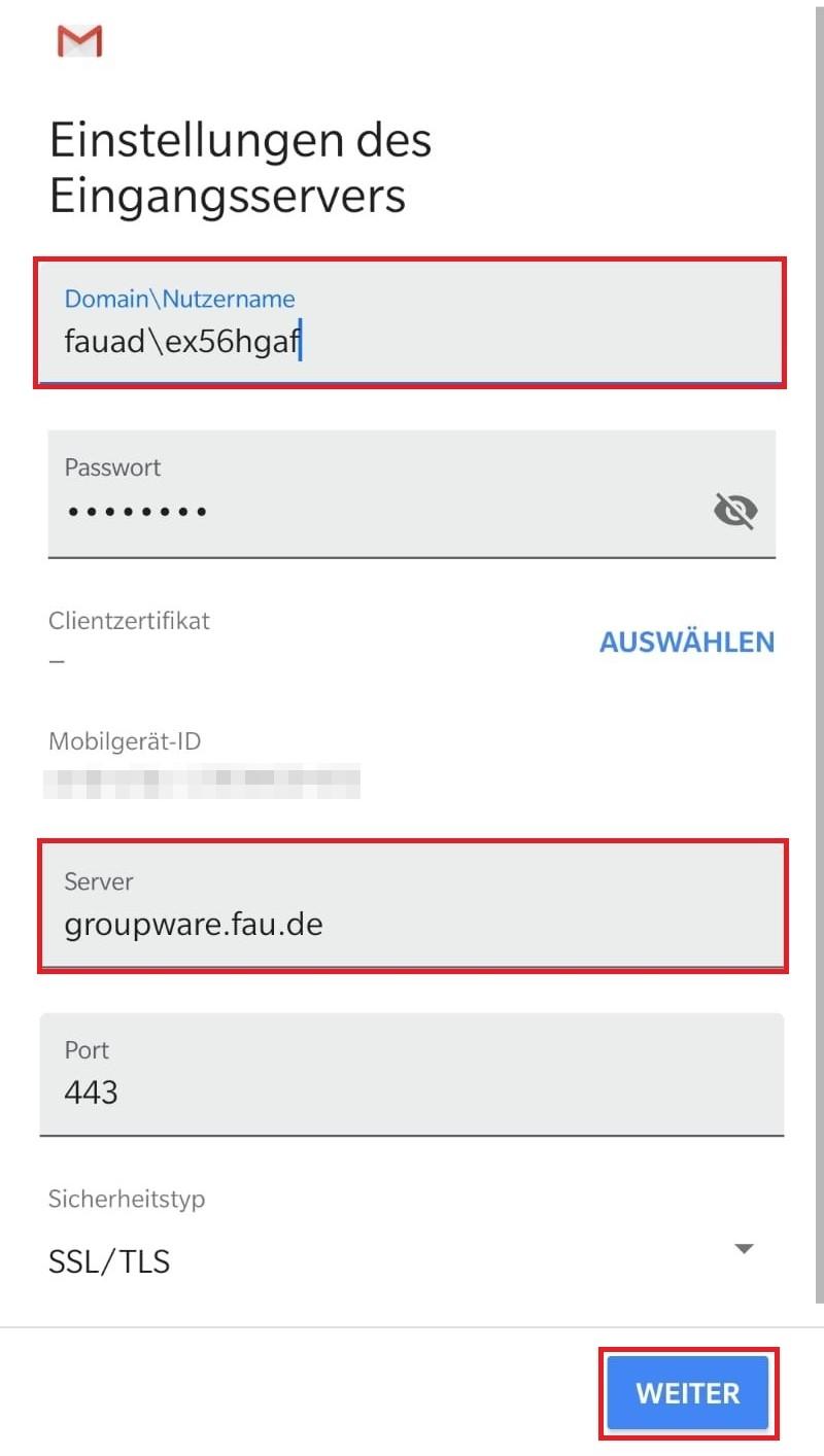 Exchange Postfach in Android einrichten › RRZE-Anleitungen