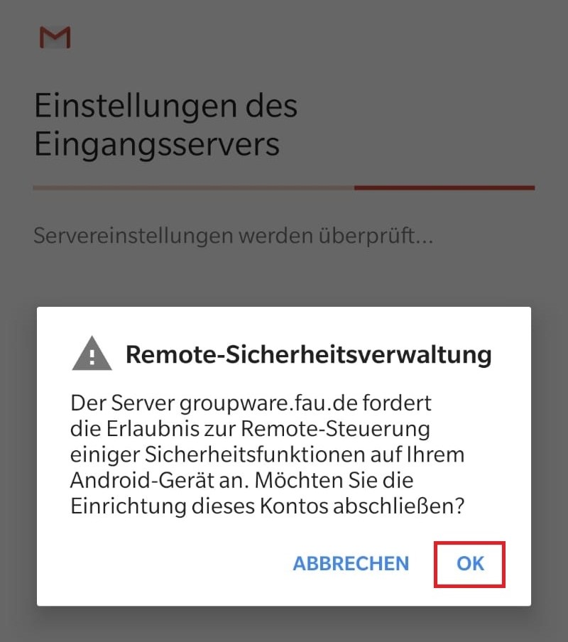 """Das Bild zeigt, dass Sie bei der Meldung """"Remote-Sicherheitsverwaltung"""" auf """"OK"""" klicken sollen."""