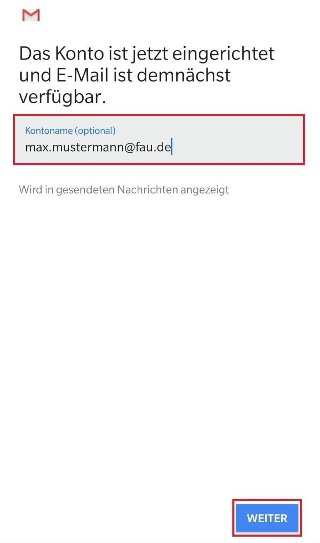 Das Bild zeigt, dass Sie einen optionalen Kontonamen für Ihr Konto eingeben können.