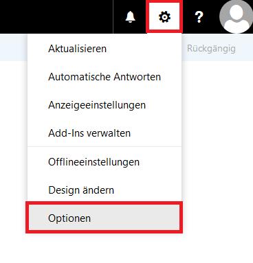 """Das Bild zeigt, dass Sie auf ein Symbol klicken sollen, das aussieht wie ein Zahnrad (zweites Symbol links neben dem Profil-Avatar-Bild). Dann sollen Sie """"Optionen"""" wählen."""