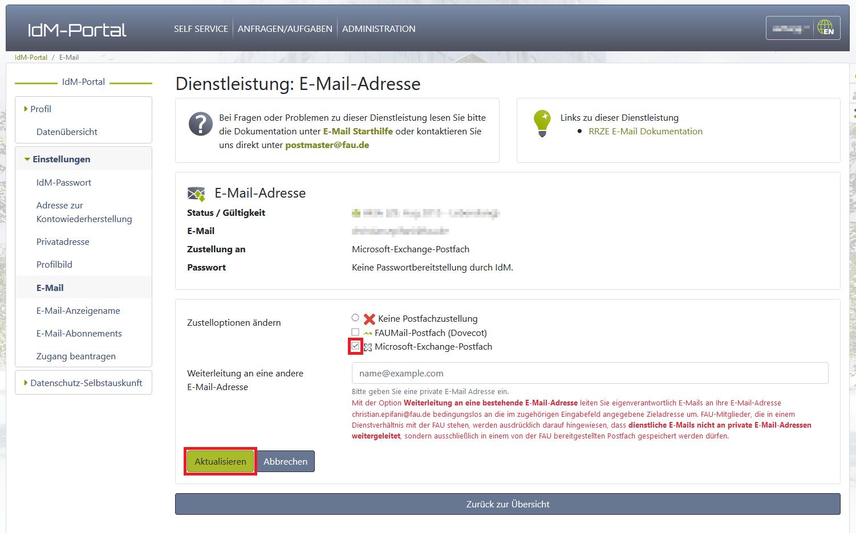 IDM-Portal: Dienstleistung E-Mail-Adresse