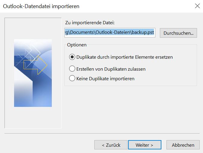 """Hier wird Ihnen gezeigt, dass Sie im offenen Fenster """"Outlook-Datendatei importieren"""" bei der zu importierenden Datei den entsprechenden Dateipfad eingeben. Dann wählen Sie bei den Optionen """"Duplikate durch importierte Elemente ersetzen"""" und klicken auf """"Weiter""""."""