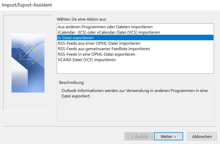 """Hier wird gezeigt, dass Sie die Aktion """"In Datei exportieren"""" anklicken und auf """"Weiter"""" klicken sollen."""