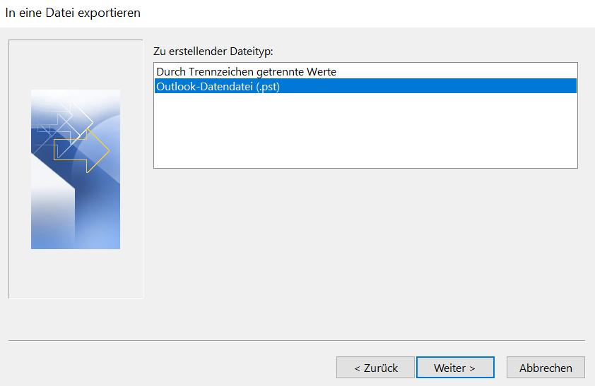 """In diesem Bild wird das Fenster """"In eine Datei exportieren"""" angezeigt, wobei Sie beim zu erstellenden Dateityp """"Outlook-Datendatei (.pst)"""" anklicken und anschließend auf """"Weiter"""" klicken sollen."""