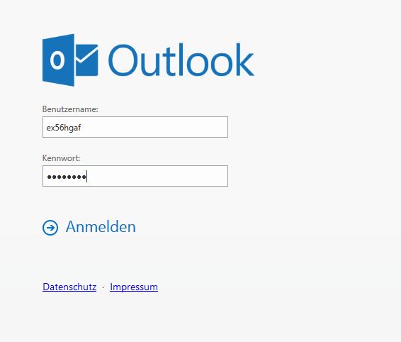 """Das Bild zeigt das Outlook-Anmeldefenster mit den beiden Feldern für Benutzername und Kennwort sowie den Button """"Anmelden"""" und zwei blaue und unterstrichene Links zu """"Datenschutz"""" und """"Impressum""""."""