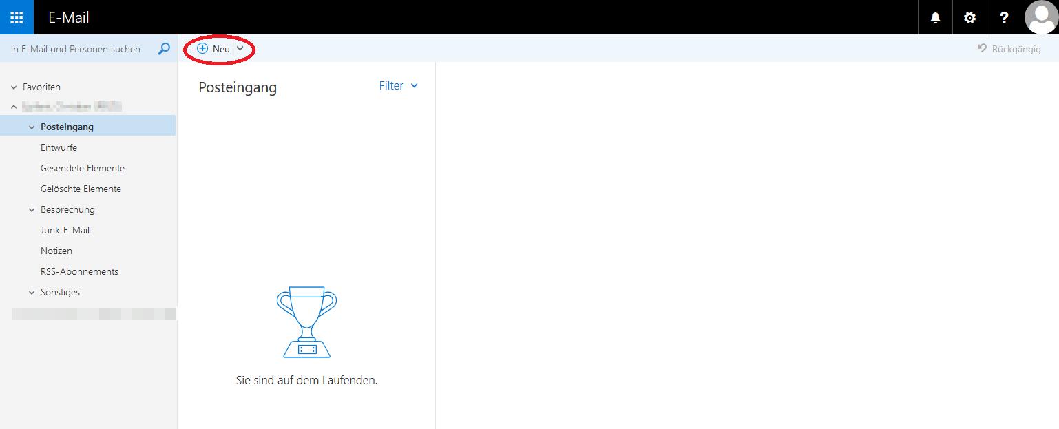 """Das Bild zeigt, dass Sie zum Erstellen einer neuen Mail auf """"Neu"""" klicken müssen."""