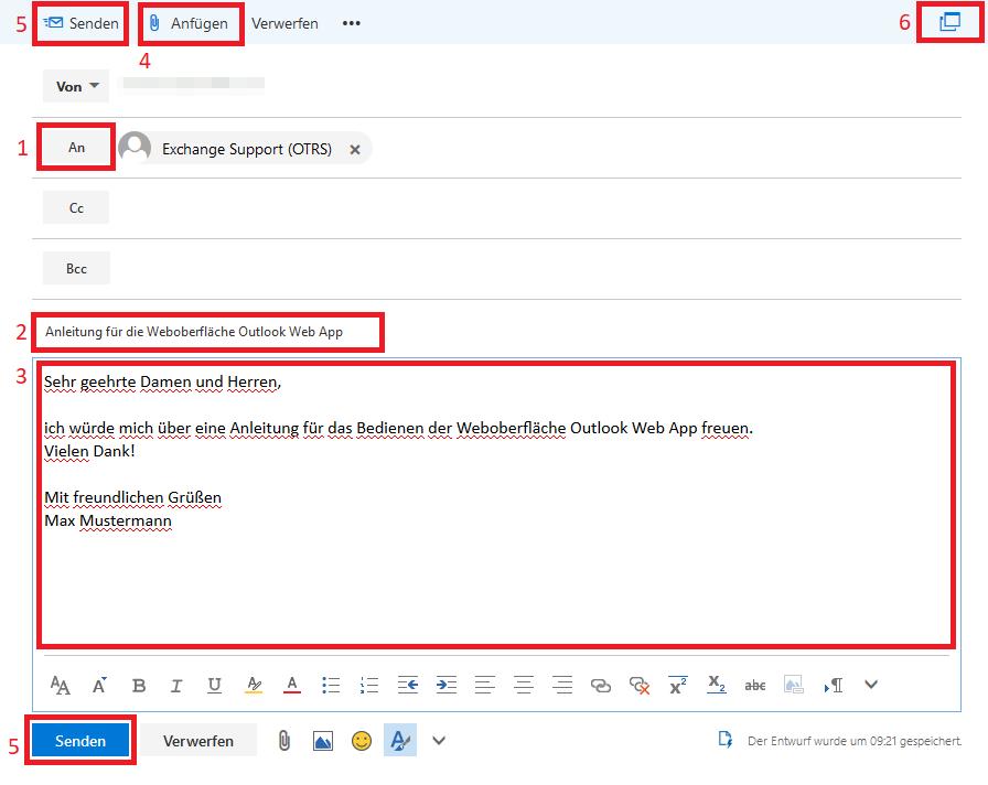 """Das Bild zeigt das sich öffnende Fenster beim Verfassen einer neuen Mail mit """"Senden"""", """"Anfügen"""", """"An"""", der Betreffzeile und dem Textfeld sowie rechts oben in der Ecke einen Button zum Öffnen in einem neuen Fenster."""