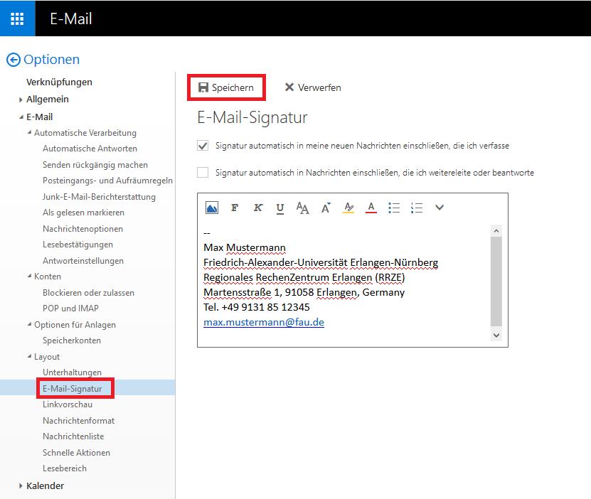 """Das Bild zeigt, dass Sie unter den Optionen und dem Unterpunkt Layout die E-Mail-Signatur festlegen können, wozu Sie nach dem Bearbeiten dieser auf """"Speichern"""" drücken müssen."""