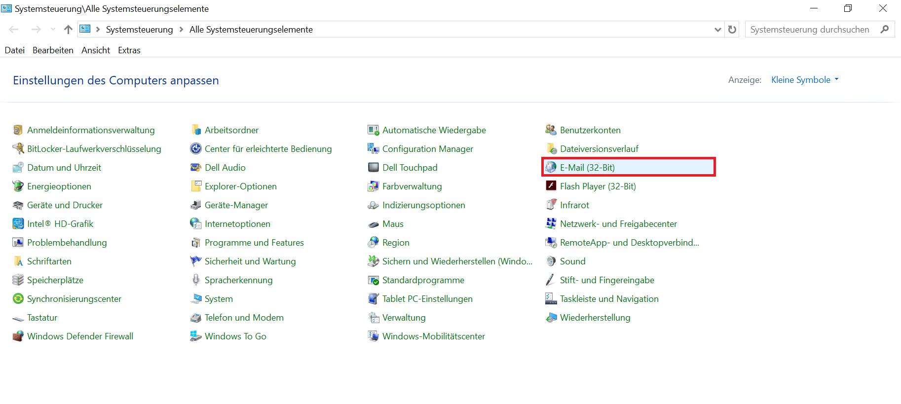 """Das Bild zeigt, dass Sie im Menü der Systemsteuerung auf """"E-Mail (32-Bit)"""" klicken sollen."""