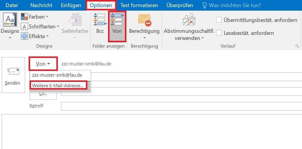 """Das Bild zeigt, dass Sie in Outlook unter dem Reiter """"Optionen"""" und dem Feld """"Von"""" zu """"Weitere E-Mail-Adresse"""" gelangen."""