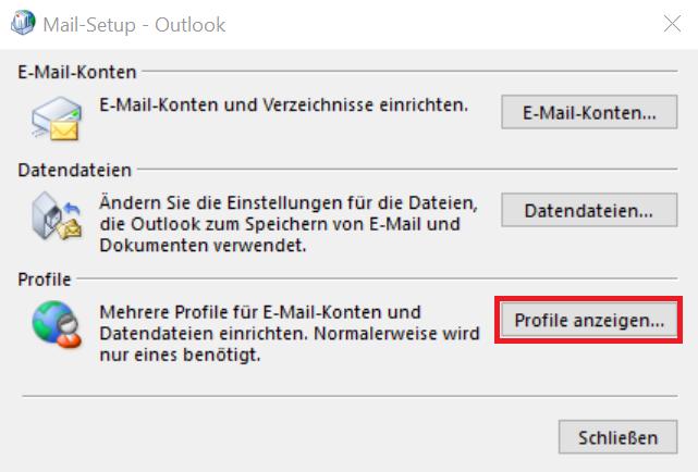 """Das Bild zeigt das geöffnete Fenster """"Mail-Setup - Outlook"""". Unter """"Profile"""" sollen Sie hier auf """"Profile anzeigen"""" klicken."""