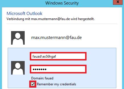 """In diesem Bild wird gezeigt, dass Sie im geöffneten Fenster """"Windows Security"""" für Ihr Konto Ihren Benutzernamen sowie Ihr Passwort eingeben sollen und """"Remember my credentials"""" aktivieren sollen."""