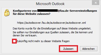 """In diesem Bild sehen Sie das geöffnete Fenster """"Microsoft Outlook"""" und die Frage, ob Sie das Konfigurieren der Servereinstellungen für die Website zulassen möchten. Hier aktivieren Sie """"Zukünftig nicht mehr zu dieser Website fragen"""" und klicken dann auf """"Zulassen""""."""
