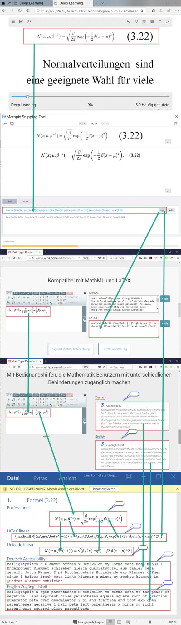 Workflow: Mathematische Formeln vorlesen, erstellen und zugänglich machen