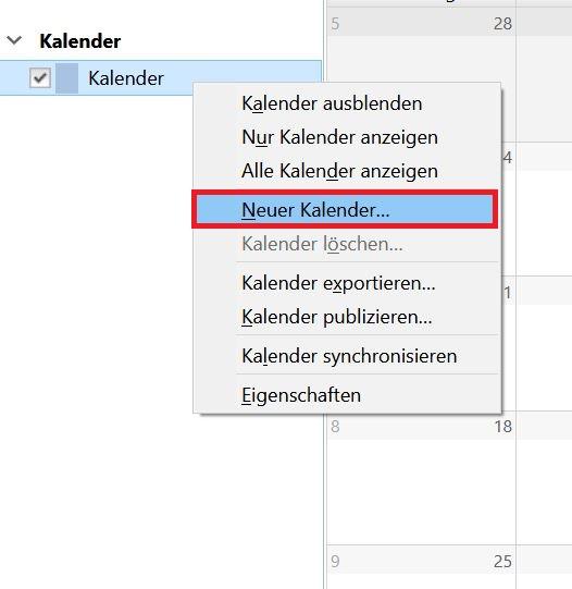 """""""Neuer Kalender"""" wählen"""
