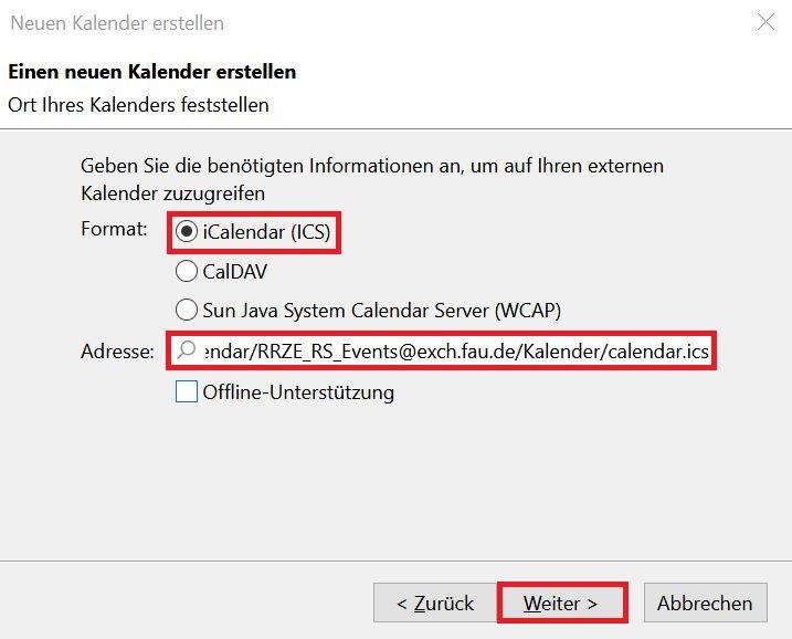"""Fenster """"Neuen Kalender erstellen"""""""