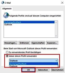 Outlook-Profil auswählen