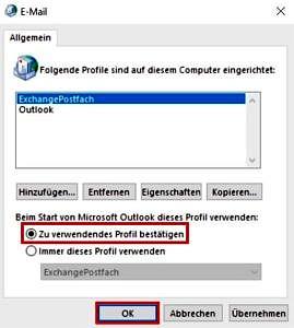 Outlook-Profil verwenden