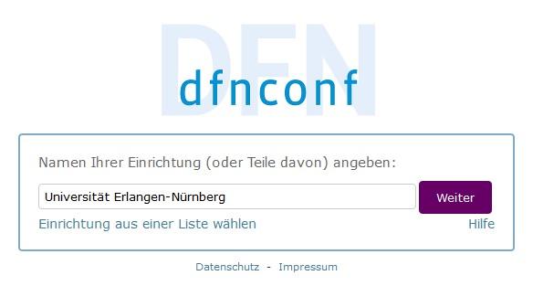 DFN-Config Einrichtung waehlen