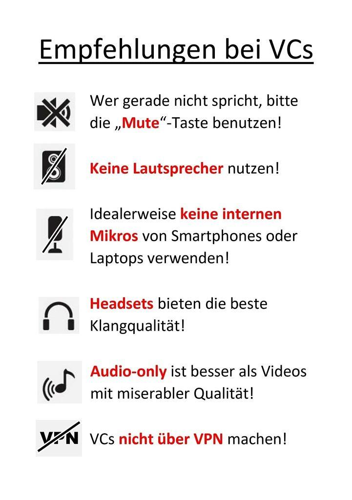 Empfehlungen Videokonferenzen