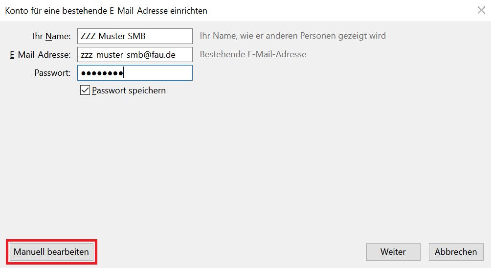 """Fenster """"Konto für eine bestehende E-Mail-Adresse einrichten"""""""
