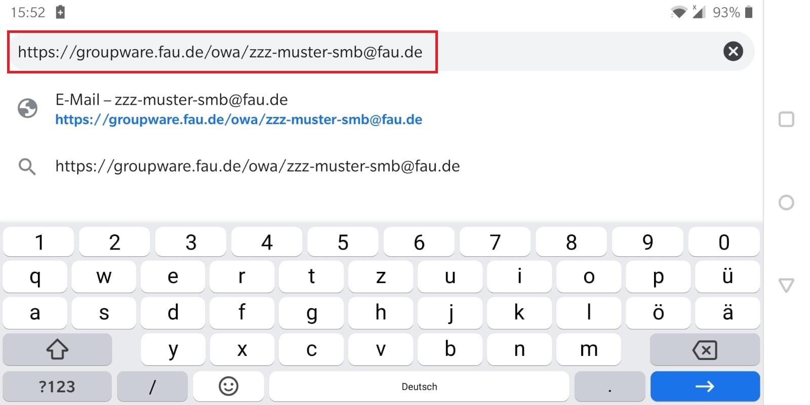 Das Bild zeigt, dass Sie in Ihrem mobilen Browser (Android) in der Suchleiste Ihres Browsers die E-Mail-Adresse des entsprechendem Postfachs hinter der URL angeben sollen.