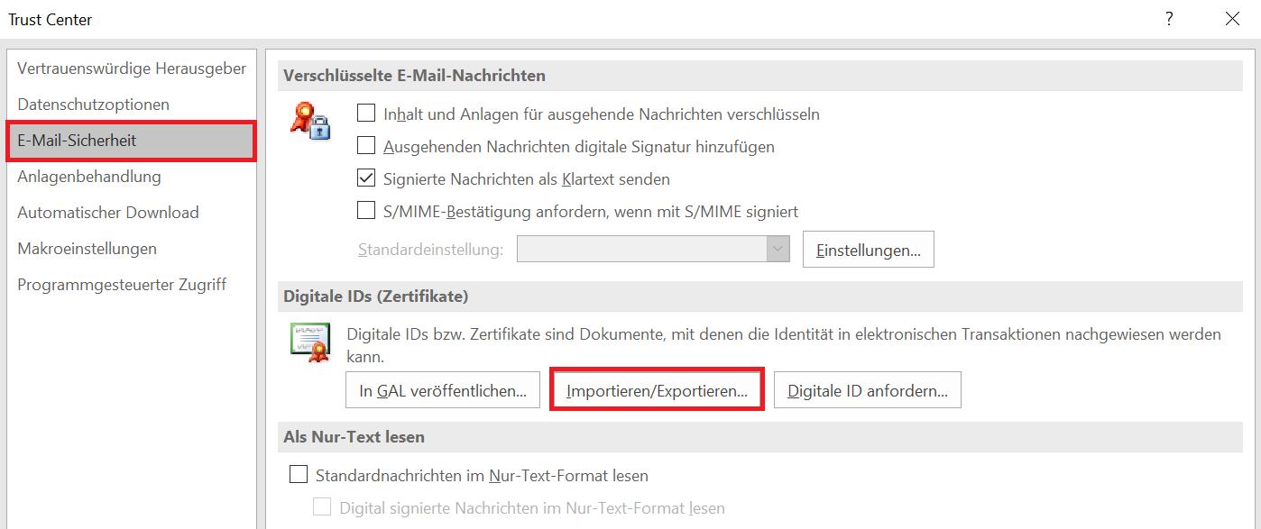 Outlook Importieren vom Zertifikat