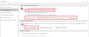 Outlook Zertifikat veröffentlichen