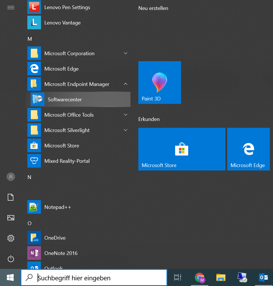 Windows Menü: Softwarecenter auswählen