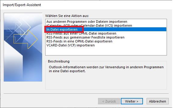 "Fenster ""Import/Export-Assistent"""