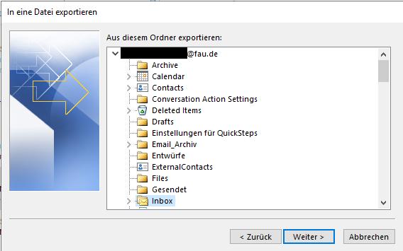 """Fenster """"In eine Datei exportieren"""" - """"Weiter"""" wählen"""
