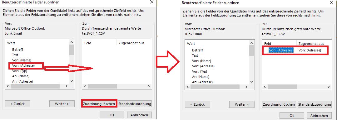 """Fenster """"Benutzerdefinierte Felder zuordnen"""" - """"Zuordnung löschen"""" wählen"""